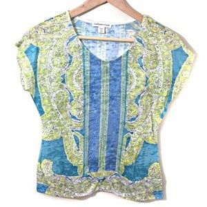Coldwater Creek Top Size XS Blue Green Paisley